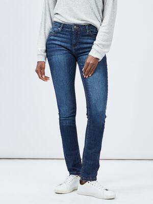 Jeans regular taille basse denim brut femme