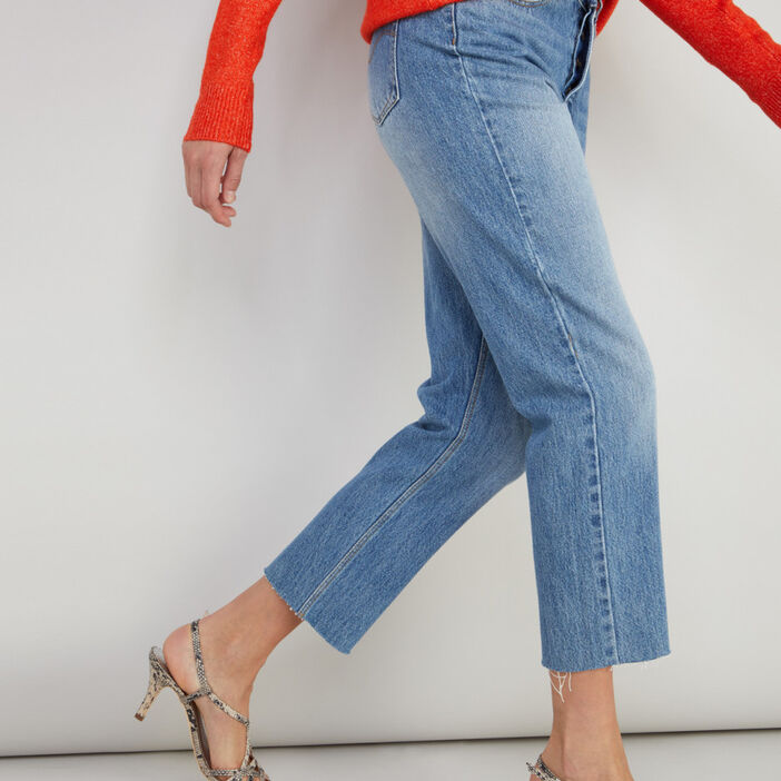 Jean droit coton taille haute femme denim stone