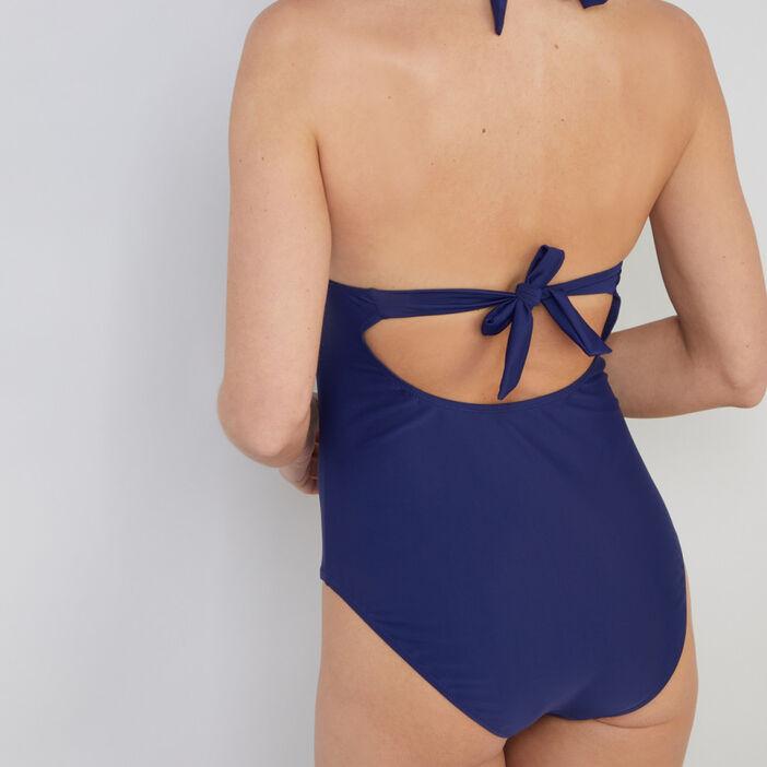 Maillot de bain 1 pièce triangle femme bleu marine