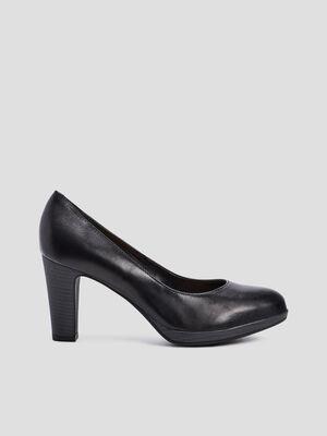 Escarpins a talons en cuir noir femme
