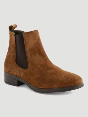bottines chelsea en cuir marron femme