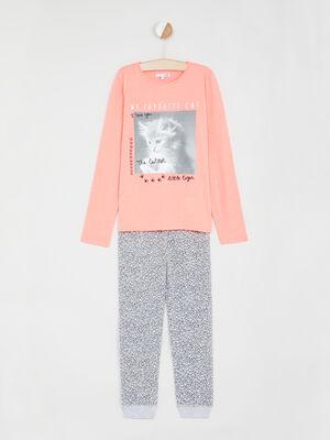 Pyjama 2 pieces imprime chat orange corail fille