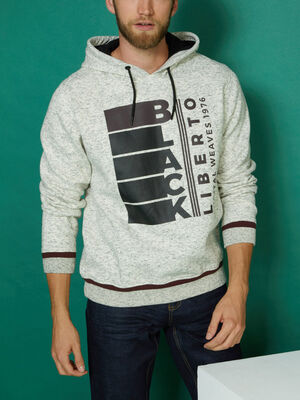 Sweatshirt avec imprime et capuche gris clair homme