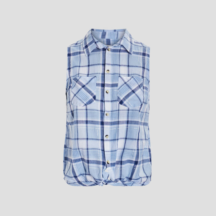 Chemise sans manches femme bleu
