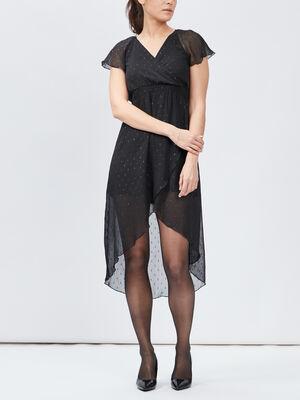 Robe droite asymetrique noir femme