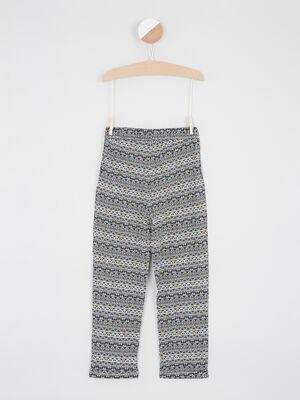 Pantalon imprime taille elastiquee multicolore fille