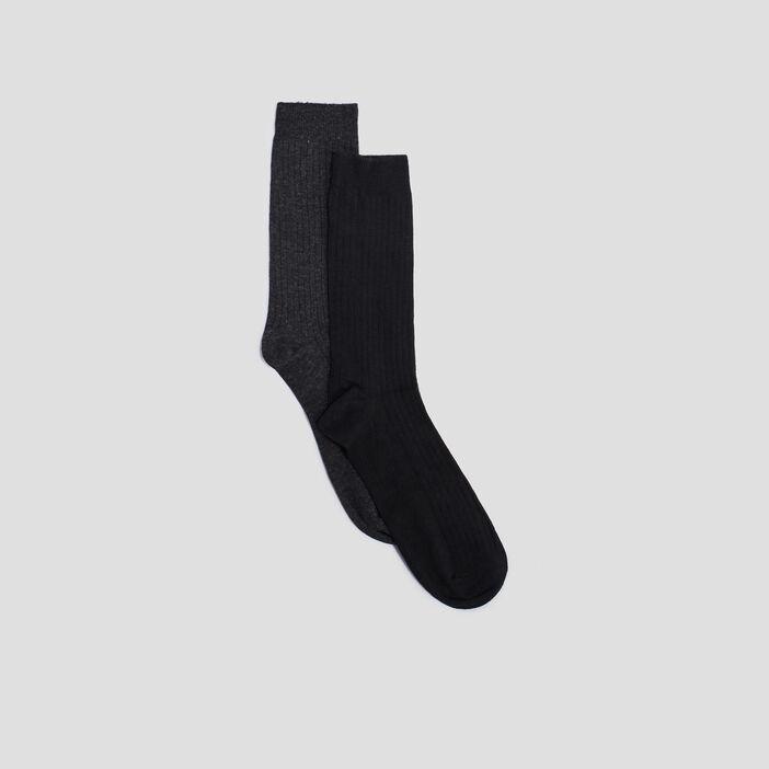 Chaussettes côtelées homme noir