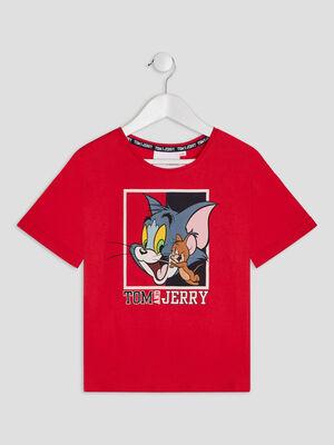 T shirt Tom et Jerry rouge fille