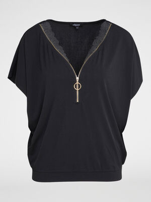 T shirt col zippe detail dentelle noir femme