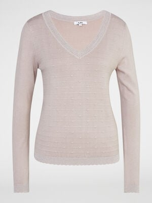 Pull points fantaisie col V rose clair femme