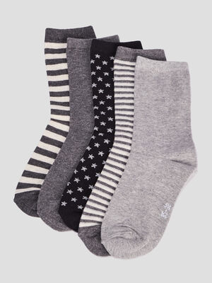 Lot 5 paires chaussettes noir femme