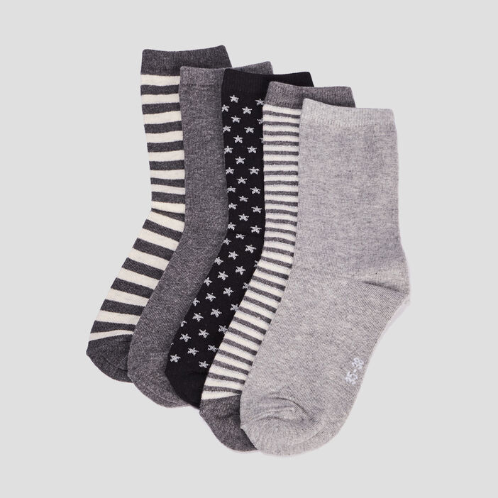 Lot 5 paires chaussettes femme noir
