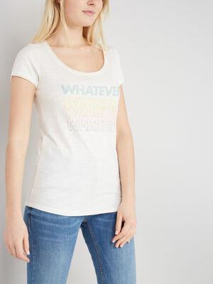 T shirt avec dessin place devant ecru femme