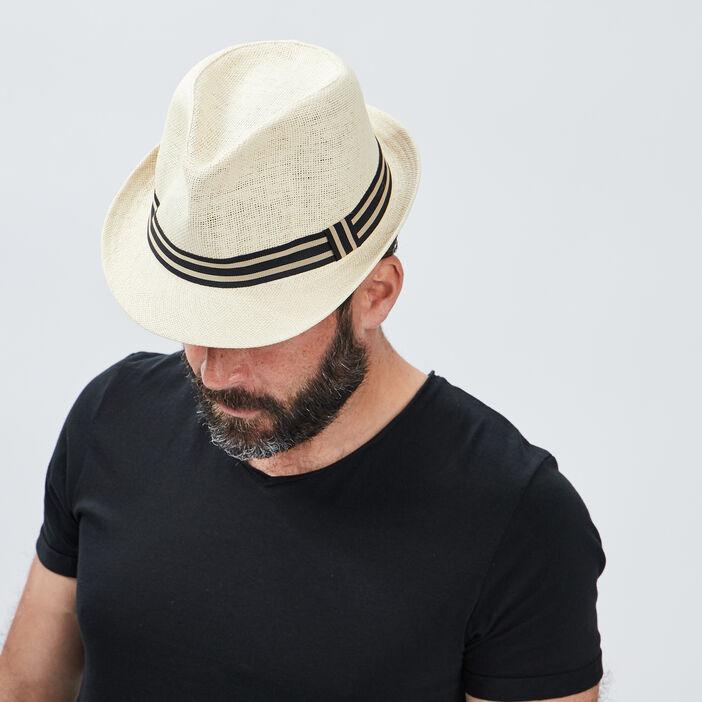 Chapeau trilby tressé homme beige