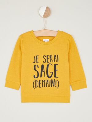 Sweatshirt avec imprime coton melange jaune garcon
