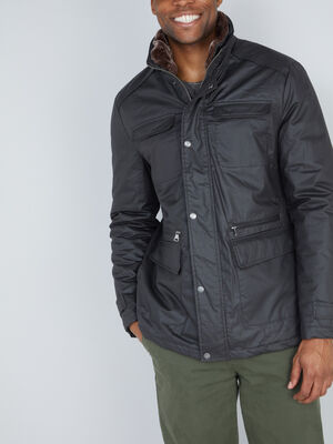 Parka doublee a poches marron fonce homme