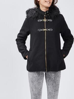 Manteau evase avec capuche noir femme