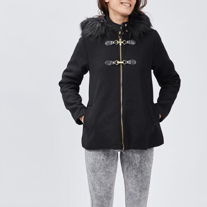 Manteau évasé avec capuche femme noir