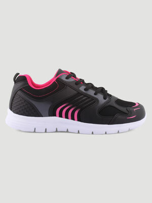 Baskets runnings bicolores multimatieres noir femme