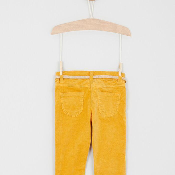 Pantalon velours coupe slim fille jaune