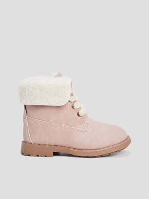 Bottines a fausse fourrure rose bebef