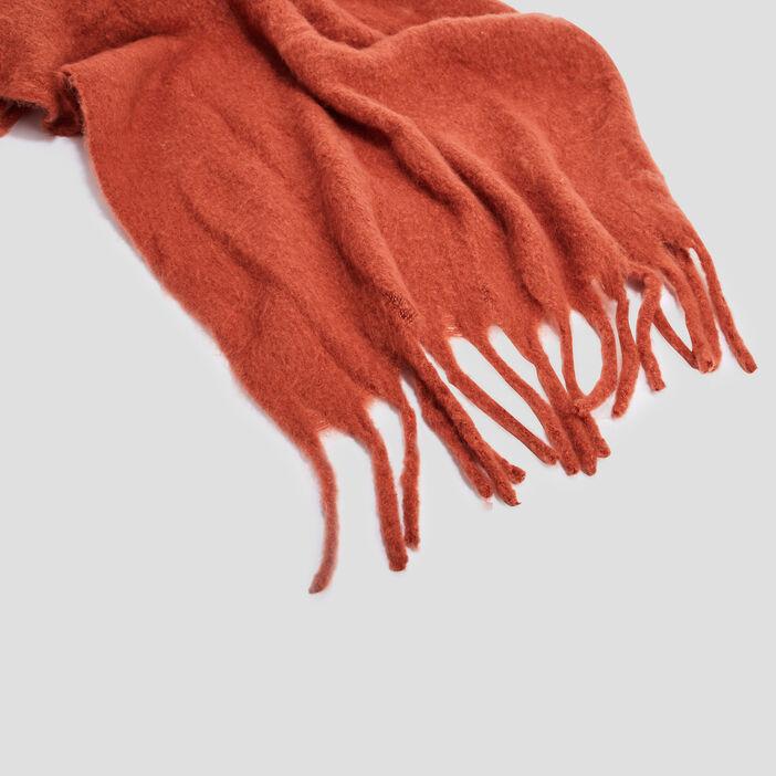 Écharpe à franges femme orange foncé