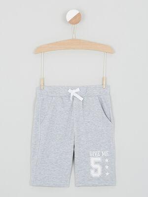 Bermuda chine taille elastiquee coton gris garcon