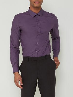 Chemise droite unie manches longues violet homme
