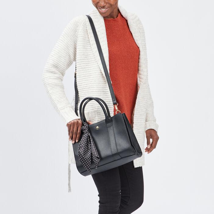 Sac rectangulaire avec foulard femme noir