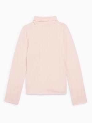 T shirt col roule coton majoritaire rose clair fille