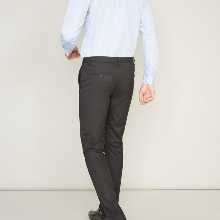 Pantalon de ville ajusté uni homme noir