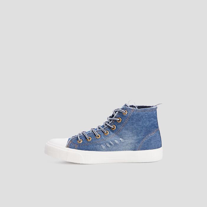 Baskets montantes en jean femme bleu