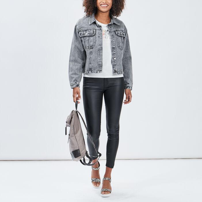 Veste droite en jean Liberto femme noir
