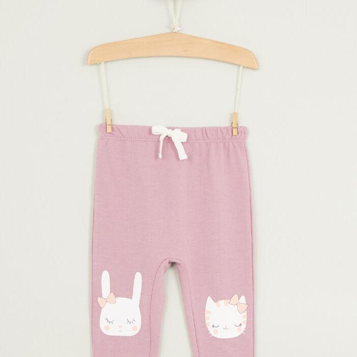 Pantalon broderies et détails 3D fille parme