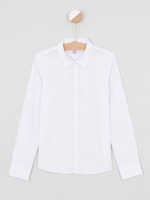 Chemise droite unie blanc garcon