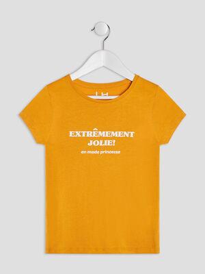 T shirt manches courtes jaune moutarde fille