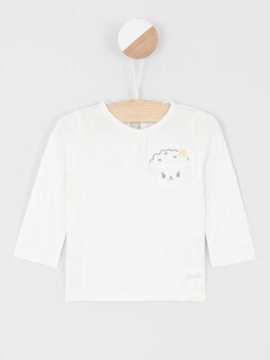 T shirt col rond en coton ecru fille
