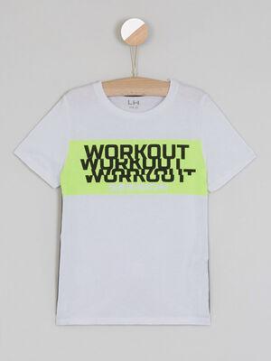 T shirt imprime destructure blanc garcon