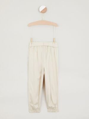 Pantalon uni coupe ample beige fille
