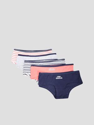 Lot 5 culottes boxers bleu marine fille