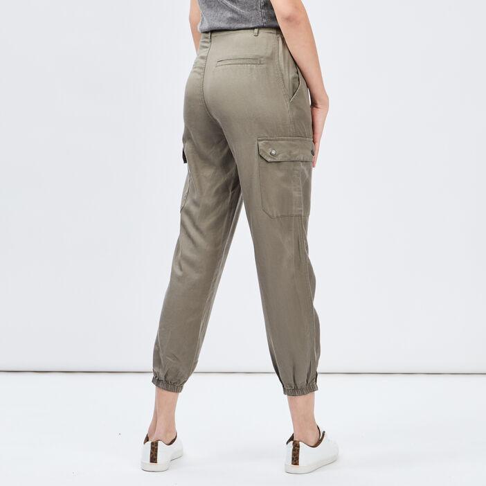 Pantalon battle avec chaîne femme vert kaki