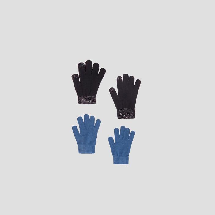Lot 2 paires de gants mixte noir