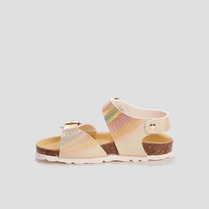 Sandales mules fille couleur or