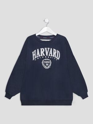 Sweat Harvard bleu fille