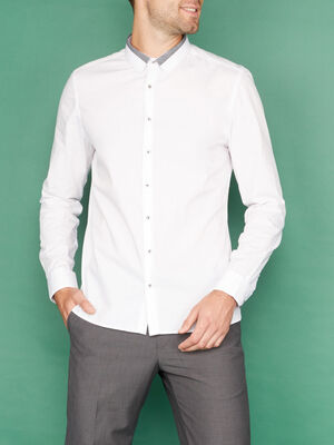 Chemise manches longues col fantaisie blanc homme