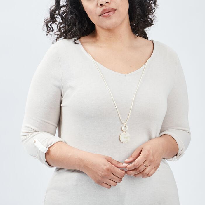 Pull à détail bijoux femme grande taille beige