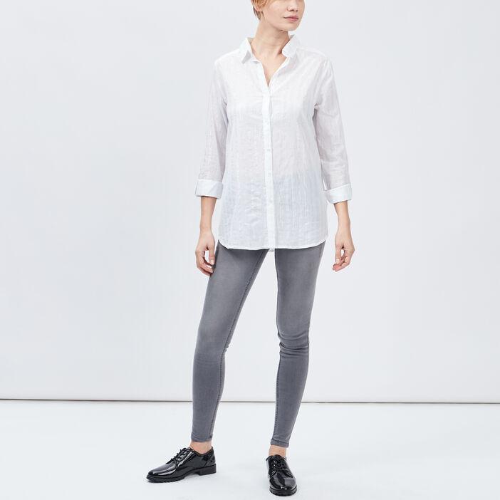 Chemise manches longues femme blanc