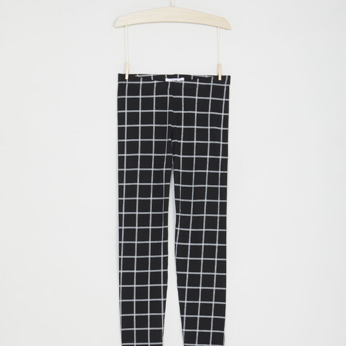 Legging imprimé grands carreaux fille noir