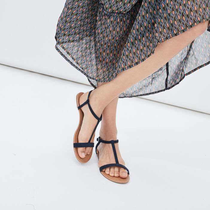 Sandales plates femme bleu