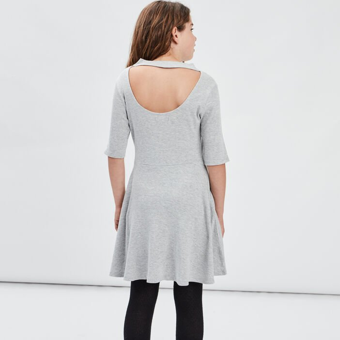 Robe patineuse manches 3/4 fille gris